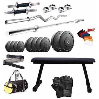 Total Gym 48 Kg Home Gym, 2 Dumbbell Rods, 2 Rods(5Ft, 3Ft Curl), Flat Bench, Gym Bag, Gym Belt (BiiGGWbelt-FLAT16)