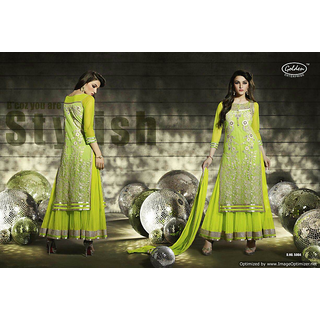 Lahenga style designer bollywood semi stitched suit piece fully embroidered top