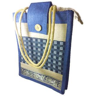 Indus Handicraftz Jute Two Color Hand Bag with Zipper