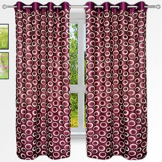 Story@Homemaroon Polyster Window Curtain Nature 2 Pc Window Curtain Wnr2022