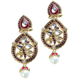 Kriaa Austrian Diamond Kundan Purple Pearl Drop Earrings