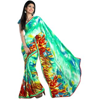Triveni Green Faux Georgette Printed Saree With Blouse
