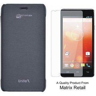Flip Cover Case For Micromax Unite 2 A106 Black With Free Tempered Glass Screen Protector
