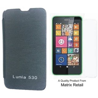 Matrix Flip Cover Case For Nokia Lumia 530 With Free Tempered Glass Screen Protector