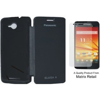 Matrix Flip Cover Case For Panasonic Eluga A Black With Free Tempered Glass Screen Protector