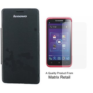 Flip Cover Case For Lenovo S 660 Black With Free Tempered Glass Screen Protector
