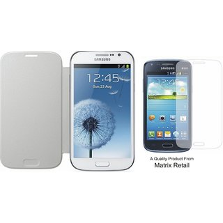 Matrix Flip Cover Case For Samsung Galaxy S Duos 7562 White Pu Leather With Free Tempered Glass Screen Protector