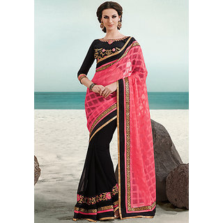Black&pink printed silk saree