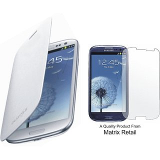 Flip Cover Case For Samsung Galaxy S3 I9300 White Pu Leather With Free Screenguard
