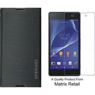 Flip Cover Case For Sony Xperia E3 Black With Free Tempered Glass Screen Protector
