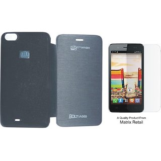 Matrix Flip Cover Case For Micromax Bolt A069 Black With Free Tempered Glass Screen Protector