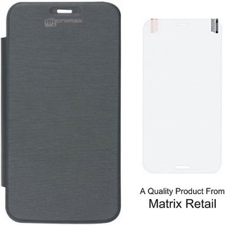 Matrix Flip Cover Case For Micromax Canvas Juice A177 Black With Free Tempered Glass Screen Protector
