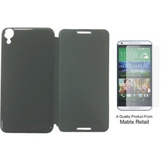 Matrix Flip Cover Case For Htc Desire 820 Black With Free Tempered Glass Screen Protector