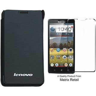 Matrix Flip Cover Case For Lenovo S 850 Black With Free Tempered Glass Screen Protector