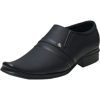 Black Slip on Smart Formals Shoes For Men by 00RA