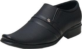 00RA Black With Fine Lining Design Slip on Formal Shoes For Men