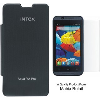 Matrix Flip Cover Case For Intex Aqua Y2 Pro Black With Free Tempered Glass Screen Protector