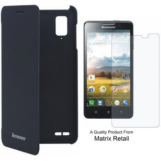 Flip Cover Case For novo P 780 Black ith Free Screenguard
