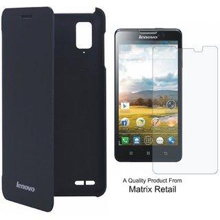 Matrix Flip Cover Case For Lenovo P 780 Black With Free Screenguard