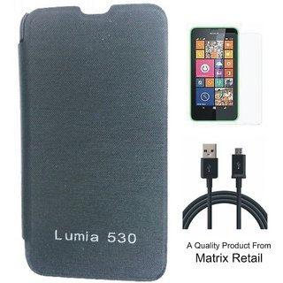 Flip Cover Case For  Lua 530 ith Free  Glass Screen Protector And Free  Data Cab