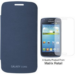 Matrix Flip Cover Case For Samsung Core 8262 Pebble Blue With Free Tempered Glass Screen Protector