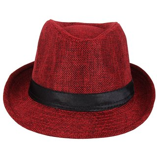 Maroon Stylish Fidora Hat For  Unisex Kids JSMFHKDCP0098