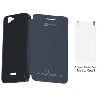 Flip Cover Case For x Canvas 2 A 120 Black ith Free Screenguard