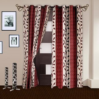 Story@Home Maroon Polyster Door Curtain Nature 2 Pc Door CurtainDNR2024