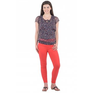 Raabta Red Lycra Jeggings With Chain RA-J106