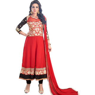 Style Mania Red Georgette Semi Stiched Anarkali Salwar Kameez