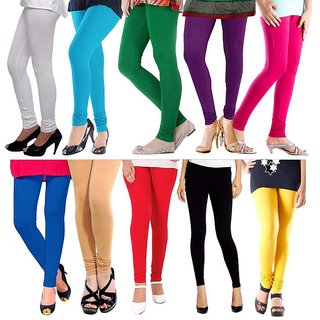 IFS Assorted or Multicolor Lycra Leggings Pack Of 10