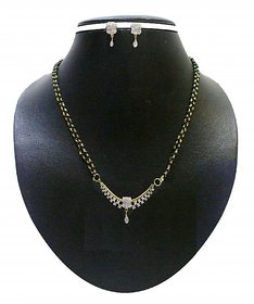 Zaveri Pearls GoldenSilver Alloy Silver Plated With Chain For Women
