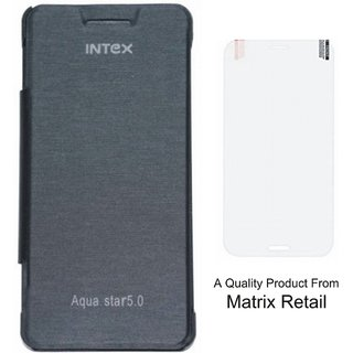 Matrix Flip Cover Case For Intex 5.0 Black With Free Tempered Glass Screen Protector