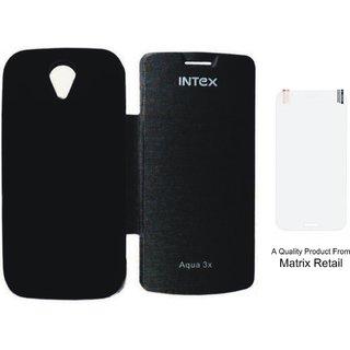 Matrix Flip Cover Case For Intex Aqua 3X Black With Free Tempered Glass Screen Protector