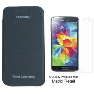 Matrix Flip Cover Case For Samsung Core Prime G 360 Black With Free Tempered Glass Screen Protector
