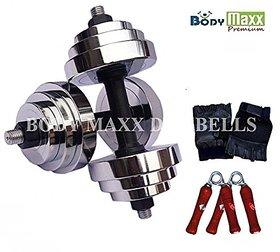 Body Maxx 20 Kg Adjustable Steel Chrome Plated Dumbells + Dumbells Rods + Gloves