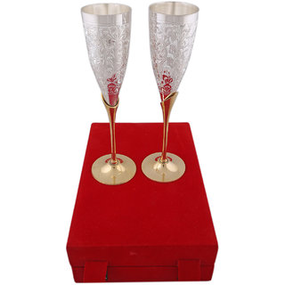 BrassValue Silver & Golden Plated Brass Glass Set Of 2 Pcs