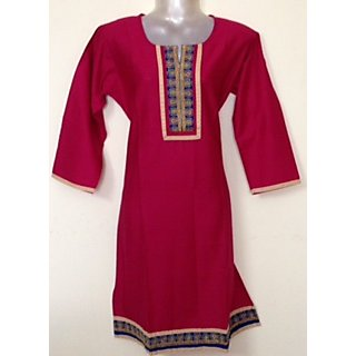 RANI COLOUR COTTON KURTI WITH EMBROIDER PATCH AND BORDER.    MIT COLLECTION.