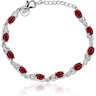 Aaishwarya Gleam Of Red 925 Silver Bracelet(AA0115B350)