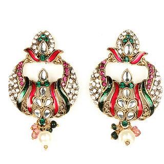 Kriaa Meenakari Pink & Green kundan Earrings