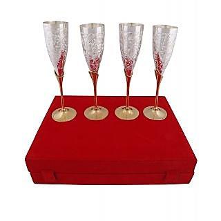 BrassValue Silver & Golden Plated Brass Glass Set Of 4 Pcs