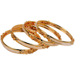Sanskruti Golden Gold Plated Set Of 4 Bangles For Women