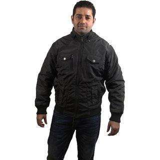 Super Human Men Black Jacket with fur lining