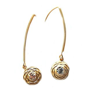 Maayra Golden AD Long Office Hanging Earrings