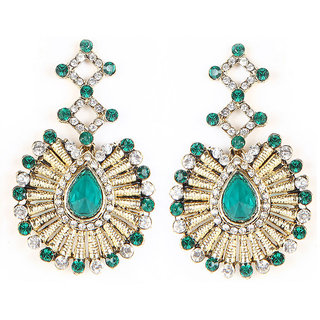 Kriaa Kundan Austrian Stone Green Earrings