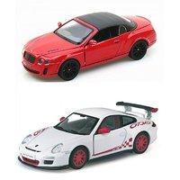 Set Of 2 2010 Bentley Continental & 2010 Porsche 911 Gt3 Toy Car