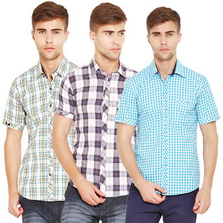 Factorydirect Mens Multicolor Regular Fit Casual Shirt (Set Of 3)