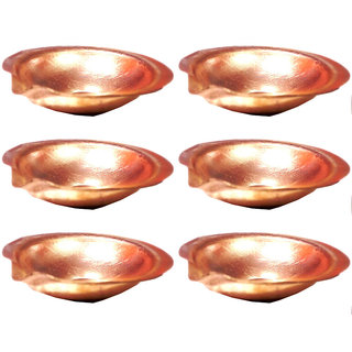 6 cm Pure Copper Diya - Set of 6