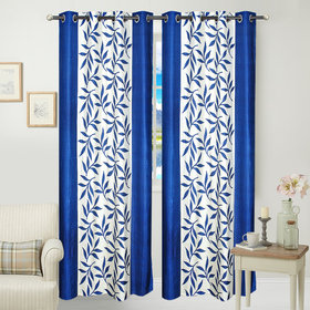White,Blue Polyester Door Curtain Feet (Combo Of 2)