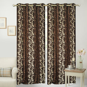 Brown,White Polyester Door Curtain Feet (Combo Of 2)